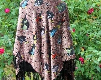 Gorgeous Burn Out Velvet and Silk Shawl
