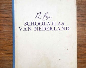 Vintage R. Bos School Atlas of the Netherlands