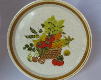 Vintage Mikasa Stoneware Market Basket Dinner Plate Retro Kitchen Dinnerware Vegetable Garden Wicker Basket Pattern Replacement Dinner Plate