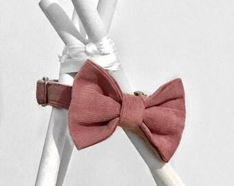 Pink Corduroy Bow Collar