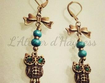 Emerald green and bronze OWL earrings