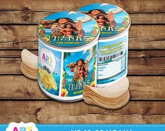 Moana Pringles Labels, Moana Birthday, Digital Printable Party Labels, Moana Pringles Labels and Toppers - AIS-10-02