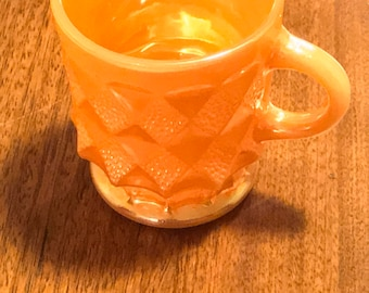 Vintage 1960s FIRE KING Anchor Hocking KIMBERLY Textured Peach Luster Coffee Mugs
