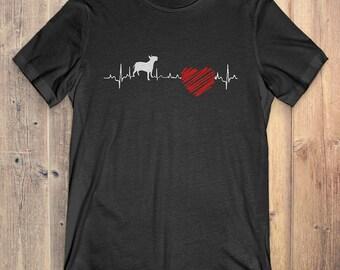 Bull Terrier Dog T-Shirt Gift: Bull Terrier Heartbeat