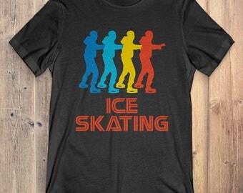 Ice Skating T-Shirt Gift: Vintage Retro Style Ice Skating