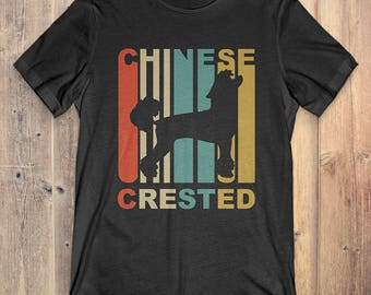 Chinese Crested Dog T-Shirt Gift: Vintage Style Chinese Crested Silhouette