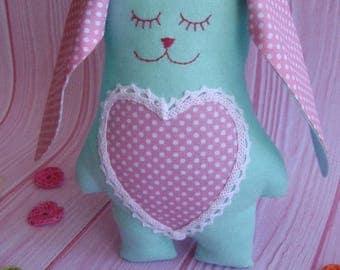 Gifts for newborn girls. Children's toys soft toys textile rabbit