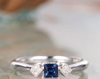 Sapphire Wedding Band White Gold Princess Cut Diamond Cluster Ring Unique Dainty Delicate Minimalist Bridesmaid Bridal Gift for Her
