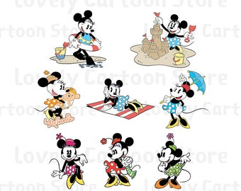 Classic Minnie Mouse Svg, Eps, Dxf and Png formats - 8 Cliparts - Digital Download