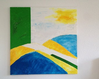 original oil painting, contemporary art work, XL, abstract landscape, white, blue, yellow, green