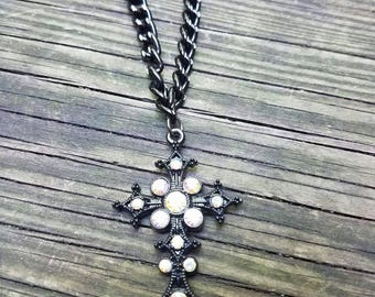 Gothic cross necklace, cross necklace, hevy metal neclace, cross chain