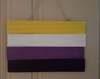 Wooden Gender Non Binary Flag Plaque
