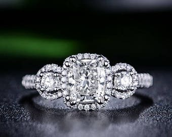 Cushion Moissanite Engagement Ring 14k White Gold Modern Forever Brilliant Moissanite Ring Proposal Ring Anniversary Ring