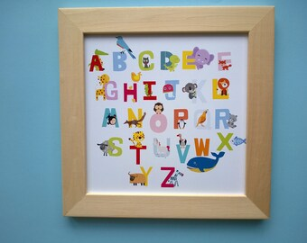 Decoration for children's room: the alphabet and the animals, multicolors