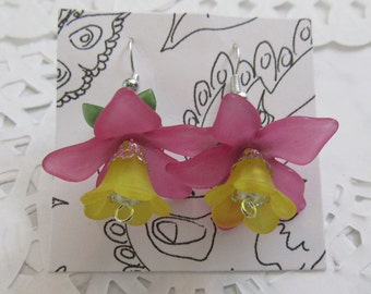 Pink and Yellow Flower Earrings
