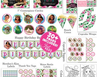 Moana Party Package, Moana Party Set, Printable Moana, Moana Birthday Party, Moana Birthday Banner, Moana Party Decorations