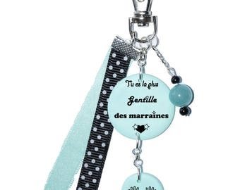 """Bag charm """"You're the sweetest godmothers"""" sea green"""