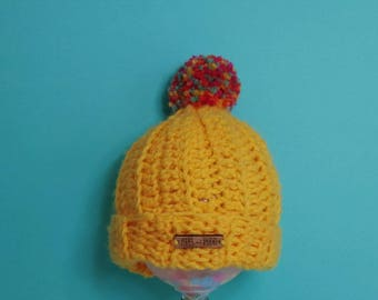 Kids | HEY DUGGEE INSPIRED | Crocheted Unisex Bobble Hat | With Multicoloured Pom Pom