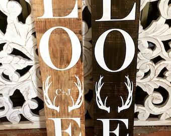 Wood Sign Love Antler
