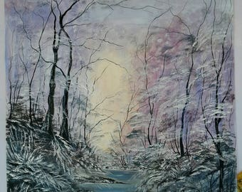 Oil painting, canvas, winter landscape, nature, apx 45 X 65 cm (17,7 X 23,6 in)