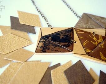 Wood - 3 3D diamond necklace