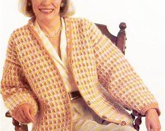 Pattern Women's Crochet Jacket / Vintage  Crochet Pattern PDF/ Womens Crochet Patterns/ 5 Sizes/ Crochet Pattern-  198