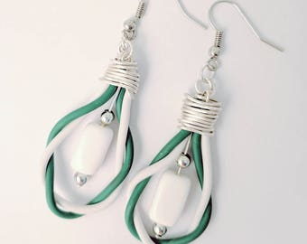 Green and White Twisted Cable Earrings