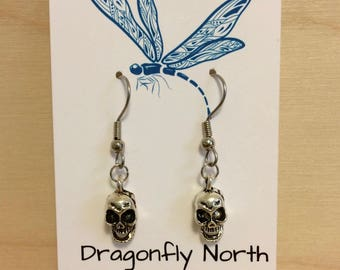 Skull earrings - silver skull charm - silver skull