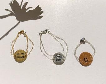 Custom Hand Stamped Metal Chain Hammered Monogram Coin Bracelet