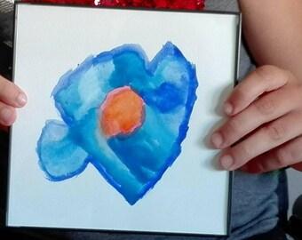"""Framed watercolor """"blue flower"""" """""""