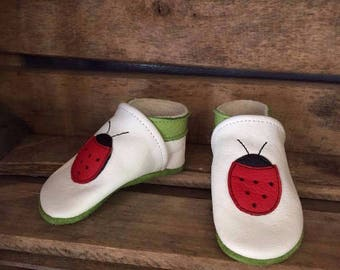 Ladybug slippers kids leather - multiple colors and sizes available