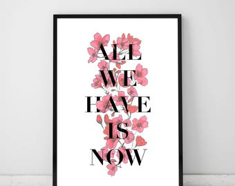 Cherry blossom inspirational printable poster, digital download, instant print, home or office decor, wall art