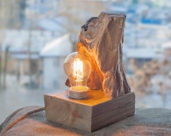 Wood lamp, Natural light, Wooden lamp, Handcrafted light, Atmosphere light, Natural wood lamp, Rustic lamp, Desk Light, LED lamp, Night lamp