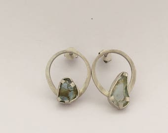 raw gemstone silver earring berill