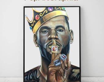 LeBron James Poster, LeBron James Art, basketball art, basketball painting, Cleveland cavaliers poster 11x17