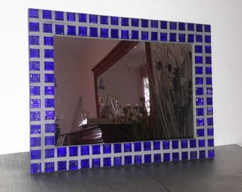 Blue and gray mosaic mirror