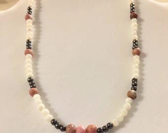 Rhodonite, Hematite and Rivershell Necklace