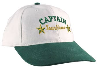 Personalized Captain Stars Your Name Embroidery Adjustable Bone Green Unstructured Low Profile Dad Hat with Option to Personalize the Back