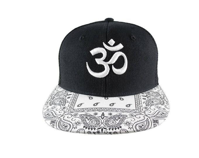 3D Puff Embroidery White Om Yoga Namaste on a White Bandana Retro Flat Bill Structured Adjustable Black Trucker Style Baseball Cap Snapback