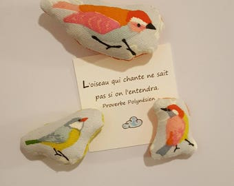 Fabric - fabric magnets - bird - sold by three magnets