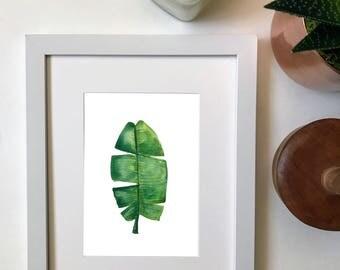 Watercolor Banana Leaf Print 2 / Tropical Leaf Print / Watercolor Plants