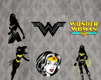 Wonder woman svg, Superhero svg, Silhouette svg, Cut files, Wonder woman Logo svg, Wonder woman clipart, Eps, Dxf, Svg, Png,Instant download