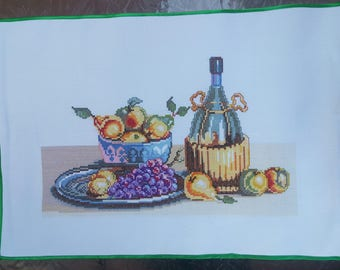 Fruit & Drink FINISHED cross stitch 14x21 in