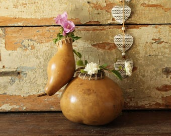 Gourd decorated with jute thread and hand drawn flowers | Decorated pumpkin | Handmade decorative gourd