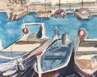 Original watercolour landscape, harbour, boats