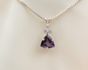 Sterling Silver Amethyst & Lab Sapphire Pendant