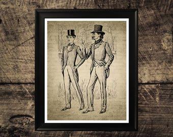 Mens fashion print, vintage wall art, vintage fashion wall design