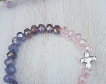 Cross Bracelet with Pink and Purple Beads