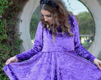 Queen of purpleland Flared frilly velvet onepiece dress