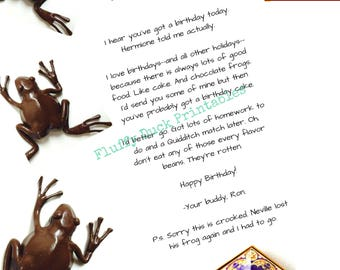 Printable, Happy Birthday, Letter from Ron, Harry Potter